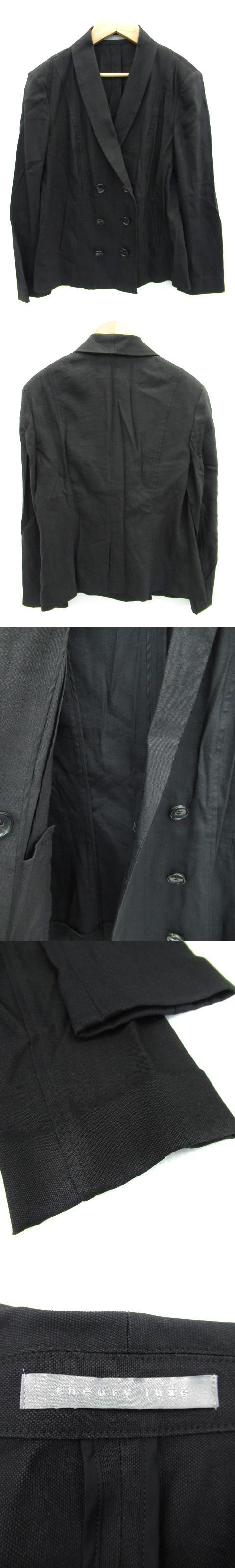 ジャケット ショールカラー 薄手 ミドル丈 ダブルボタン リネン 40 黒 ブラック /FF25