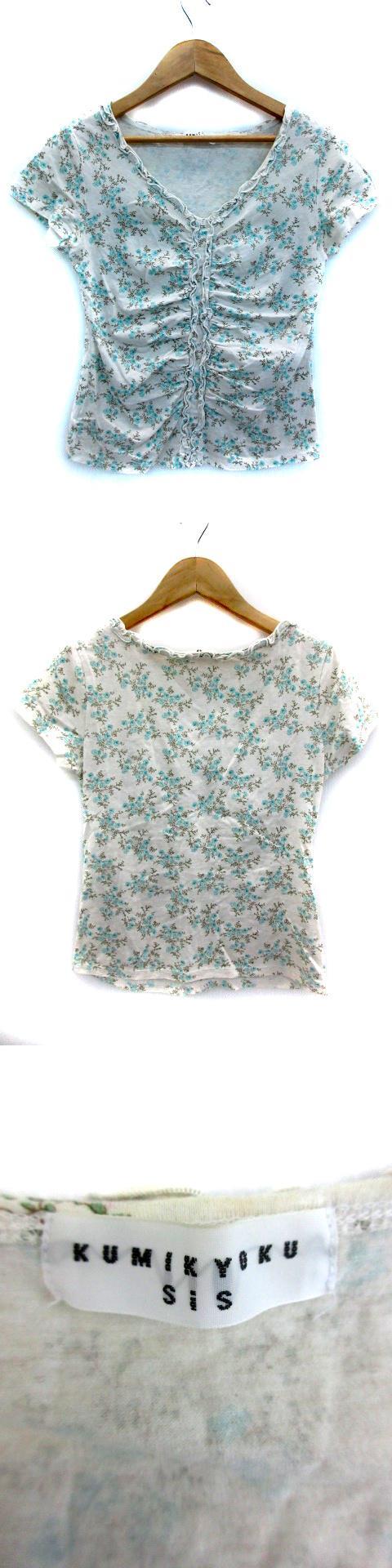 Tシャツ カットソー 半袖 Vネック 花柄 薄手 2 ライトグレー 水色 ライトブルー /MY3
