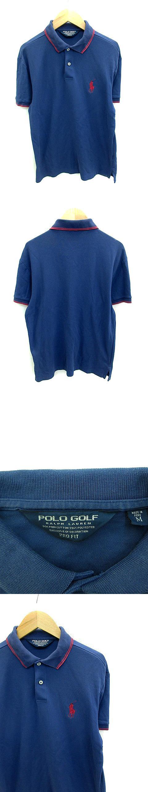 ゴルフウェア ポロシャツ ポロカラー 半袖 ロゴ刺繍 M 青 ブルー 赤 レッド /NS9