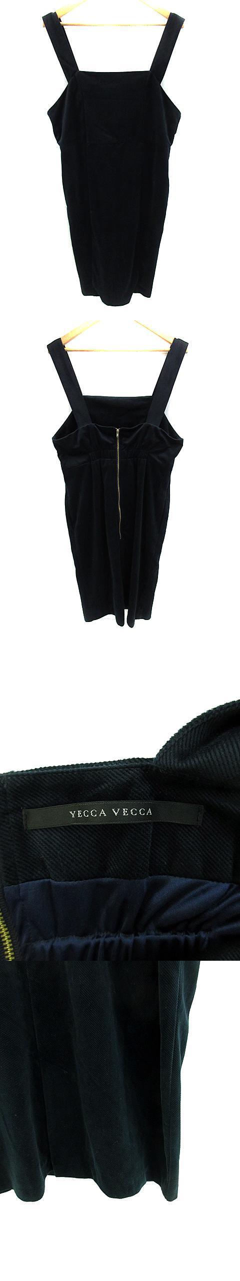 ワンピース ジャンパースカート ロング ノースリーブ コーデュロイ スリット F 紺 ネイビー /NS20