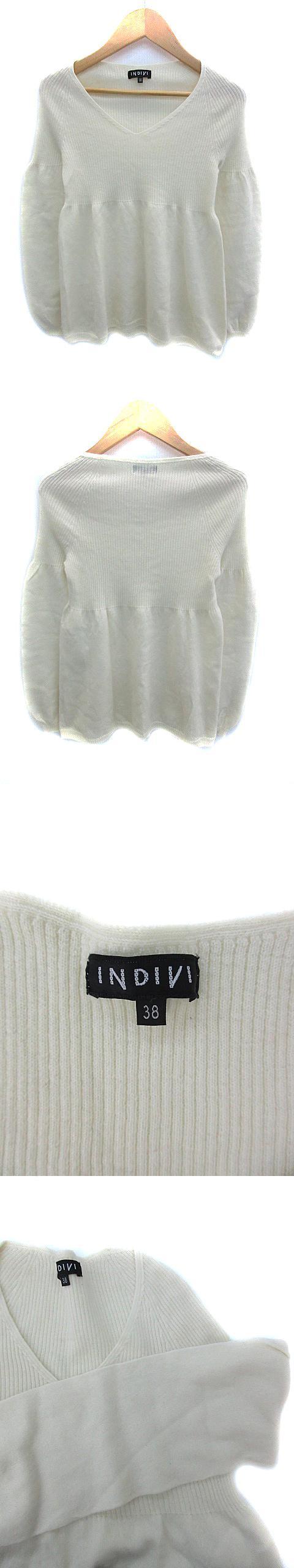 ニット カットソー リブ Vネック 長袖 パフスリーブ ウール 38 オフホワイト /NS21