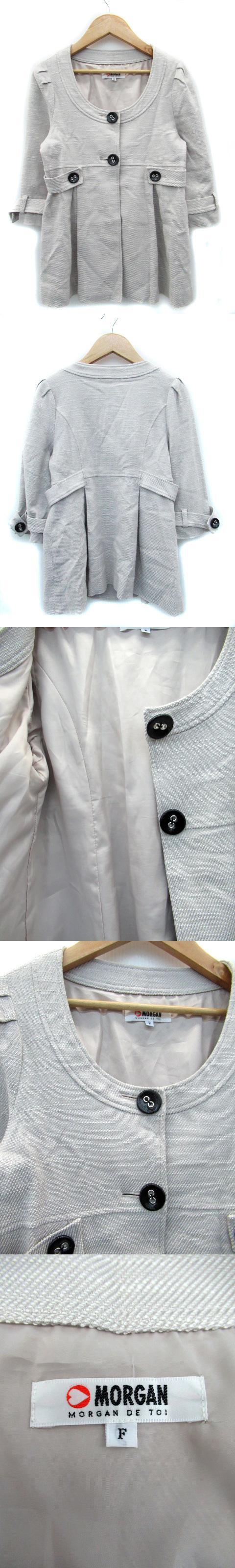 ジャケット ノーカラー 七分袖 ミドル丈 総裏地 シングルボタン F ベージュ /MS3