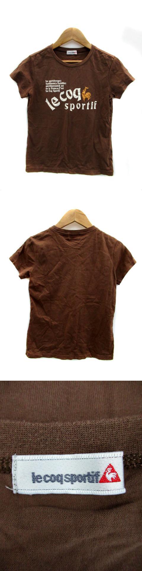 Tシャツ カットソー 半袖 ラウンドネック ロゴブリント M 茶 ブラウン /SY13