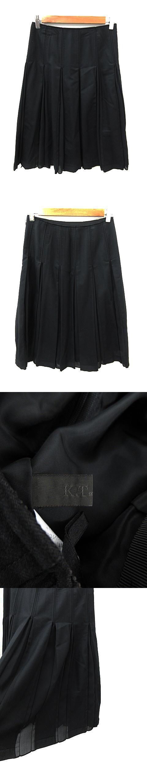 スカート フレア プリーツ ミモレ丈 ウール 9 黒 ブラック /NS30