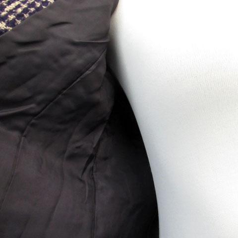 ボールジー BALLSEY トゥモローランド フォーマル セットアップ 上下 ジャケット ノーカラー 総裏地 シングルボタン ツイード スカート タイト ひざ丈 ウール混 上38 下36 パープル 紫 ベージュ /MS3 レディース