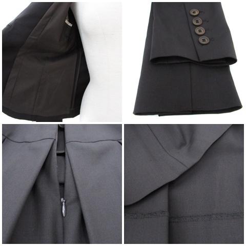 セオリー theory スーツ セットアップ 上下 ジャケット テーラード ミドル丈 シングルボタン スカート プリーツ ミモレ丈 ウール 上0 下X0 茶 ブラウン /FF1 レディース