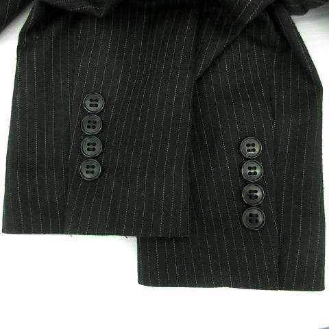 アンタイトル UNTITLED スーツ セットアップ 上下 ジャケット テーラード ミドル丈 シングル スカート タイト ひざ丈 ストライプ柄 2 黒 ブラック /YK3 レディース