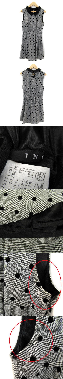 ワンピース ミニ丈 ノースリーブ 襟付き グレンチェック柄 ドット柄 フロッキープリント M グレー 黒 /SY30