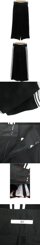 パンツ ワイド アンクル丈 ライン 2 ブラック 黒 /YM8