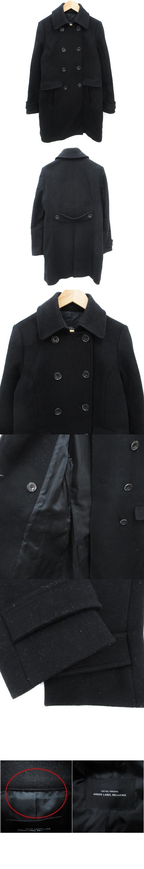 Pコート ピーコート ロング丈 ウール 36 黒 ブラック /FF3