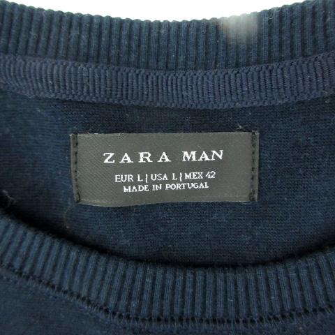 ザラマン ZARA MAN カットソー 長袖 ラウンドネック 切替 L 紺 ネイビー /SM17 メンズ