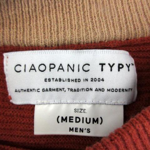 チャオパニック ティピー CIAOPANIC TYPY カットソー 長袖 クルーネック 無地 M 赤 レッド /SM5 メンズ