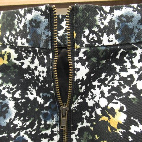 ジーナシス JEANASIS フレアスカート ミニ丈 総柄 S マルチカラー 黒 ブラック /YK10 レディース
