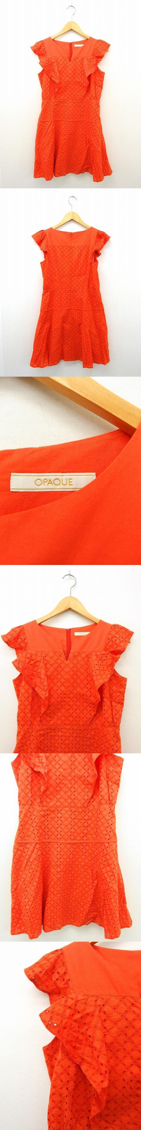 ワンピース スカート 半袖 ジップ 派手 フリル コットン 綿 38 オレンジ /UT17