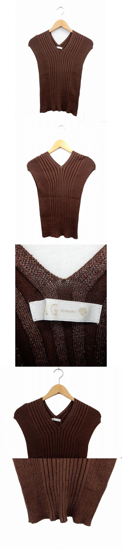 セーター ニット フレンチスリーブ リブニット ラメ混 Vネック M 茶 ブラウン /ST6
