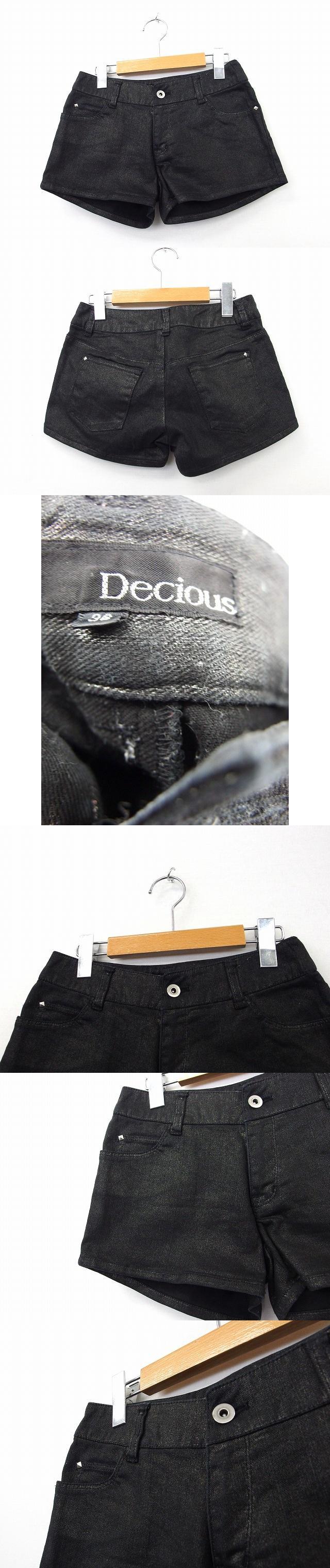 Decious パンツ ボトムス ショート 綿 コットン ラメ 36 ブラック 黒 /KT10