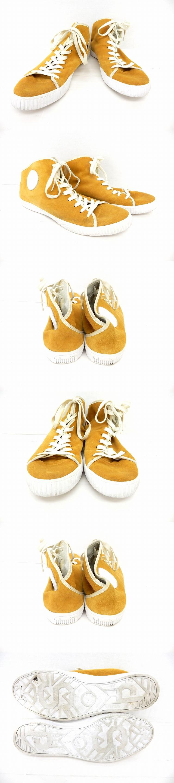 Schmid 靴 シューズ スニーカー 紐靴 ハイカット スエード調 42 黄 イエロー /ST43