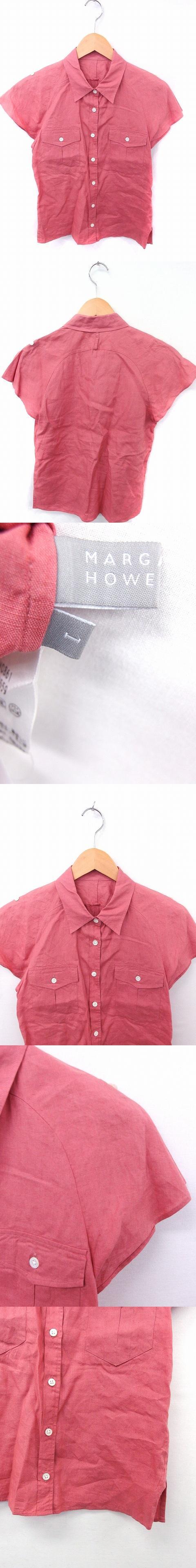 シャツ ブラウス ポケット 無地 シンプル 半袖 リネン 麻 1 ピンク /FT20