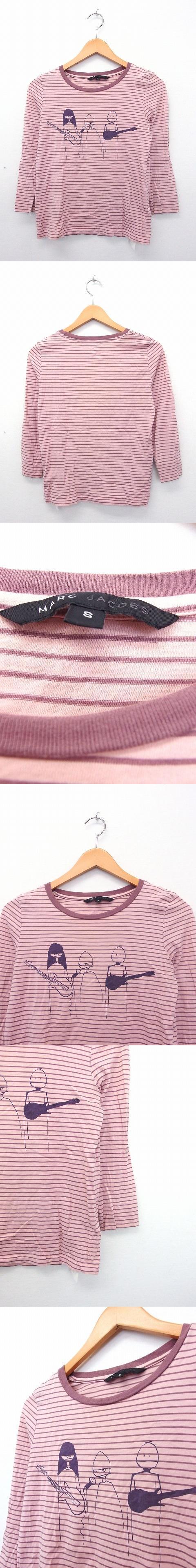 国内正規品 カットソー Tシャツ 長袖 丸首 綿 コットン ボーダー S ピンク /KT57