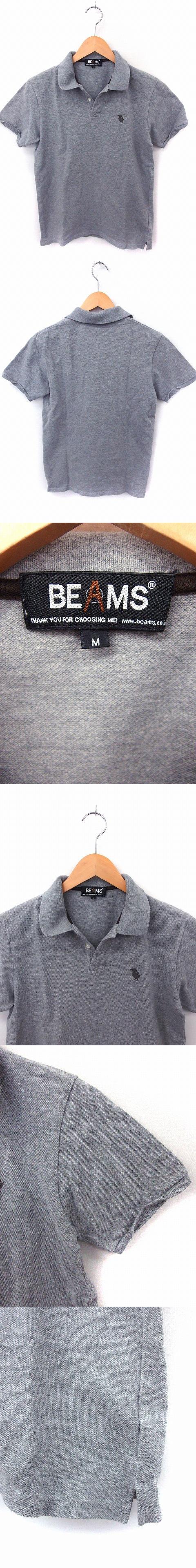 シャツ ポロシャツ 刺繍 半袖 コットン 綿 M グレー /FT28