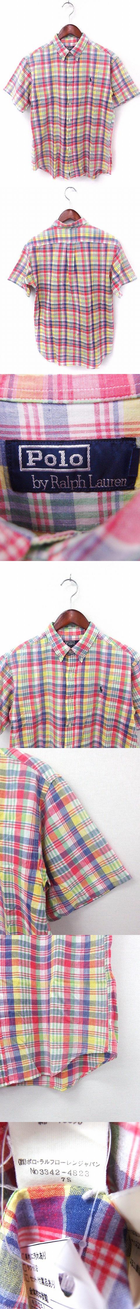 国内正規品 シャツ カジュアル チェック ボタンダウン 半袖 コットン 綿 170 イエロー 黄 /FT24