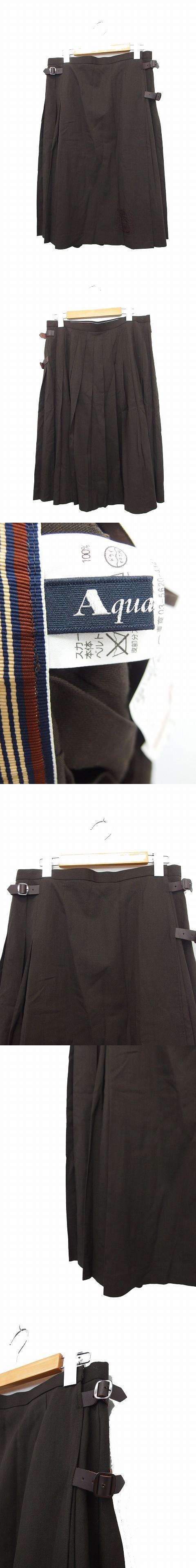 スカート プリーツスカート  膝丈 ベルト ウール ブラウン 茶 /KT42