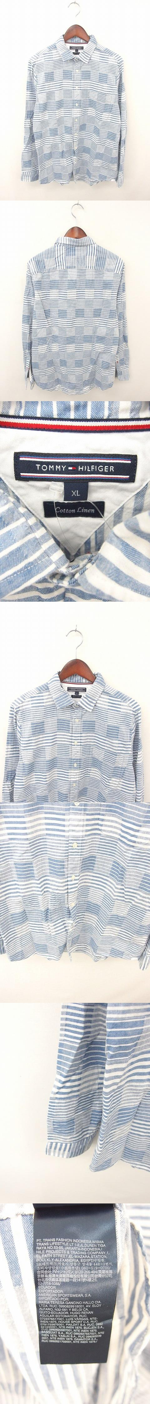 国内正規品 シャツ ボーダー カジュアル 綿 コットン 麻 リネン混 長袖 XL 紺 白 ネイビー ホワイト /TT18