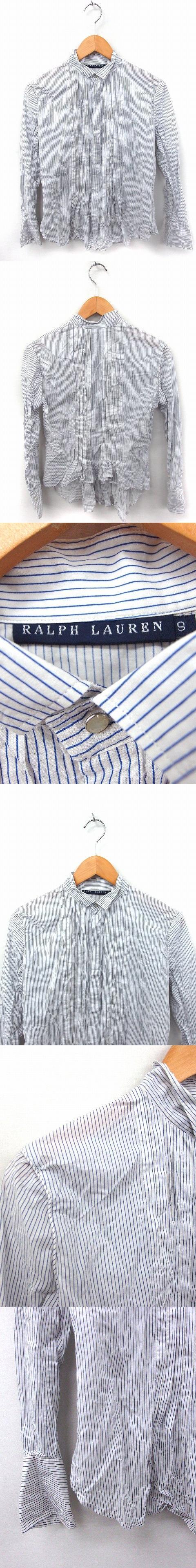 国内正規品 シャツ ブラウス ストライプ 長袖 コットン 綿 9 ホワイト 白 /FT11