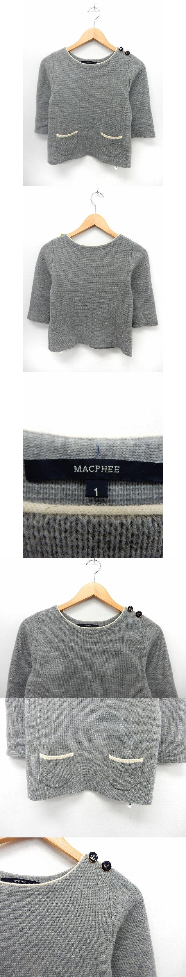 セーター ニット カットソー 七分袖 ショルダーボタン ポケット 1 グレー /ST40