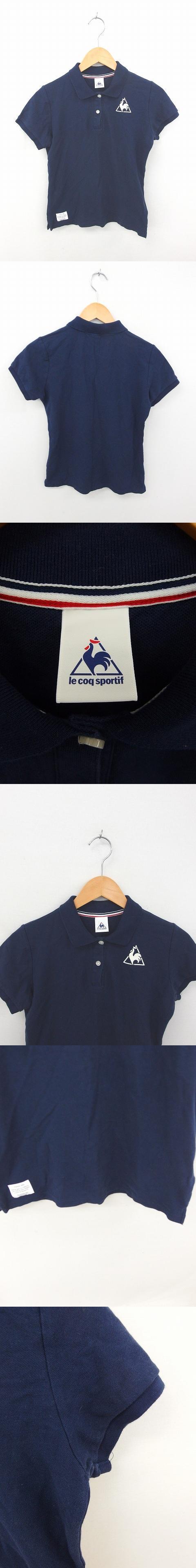 シャツ ポロシャツ ロゴ ワンポイント 綿 コットン 半袖 L 紺 ネイビー /TT21