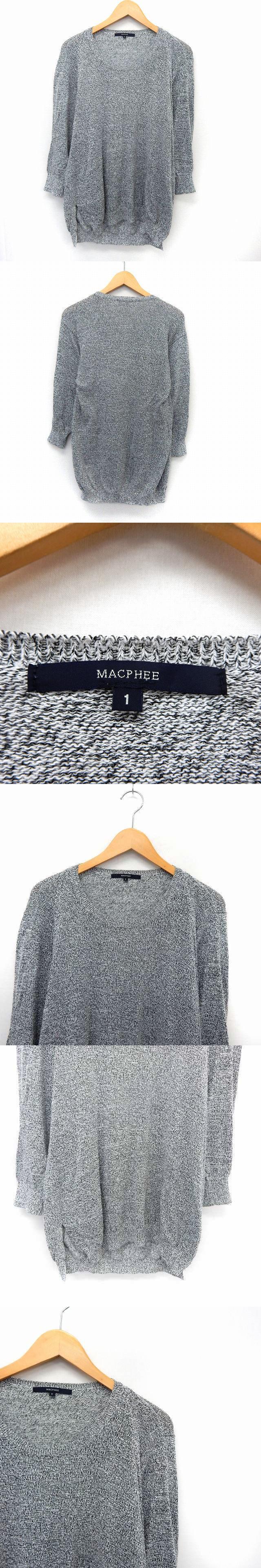 ニット セーター ロング 長袖 ミックスニット リブ袖 1 グレー /ST26