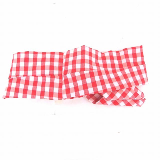 未使用品 ティティー&コー TITTY&CO タグ付き バンダナ ギンガムチェック 綿 コットン F レッド ピンク 赤 桃色 /TT28 レディース