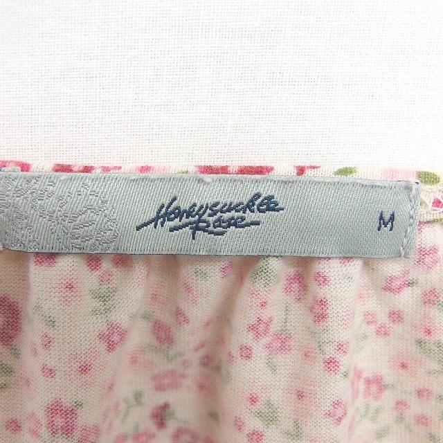 ハニーサックルローズ Honeysuckle Rose カットソー Tシャツ 花柄 深Vネック ウエストリボン 綿 コットン 半袖 M ピンク ベージュ 薄茶 /TT40 レディース