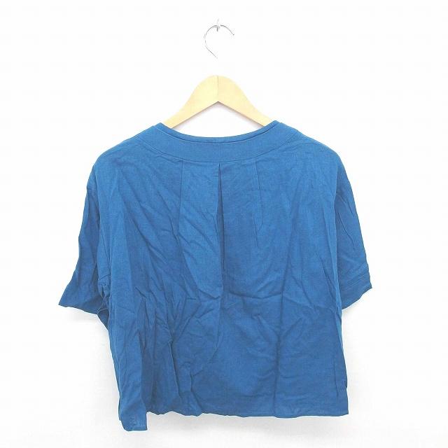 ビームスハート BEAMS HEART カットソー Tシャツ Vネック 無地 シンプル 麻 リネン 半袖 青 ブルー /TT6 レディース