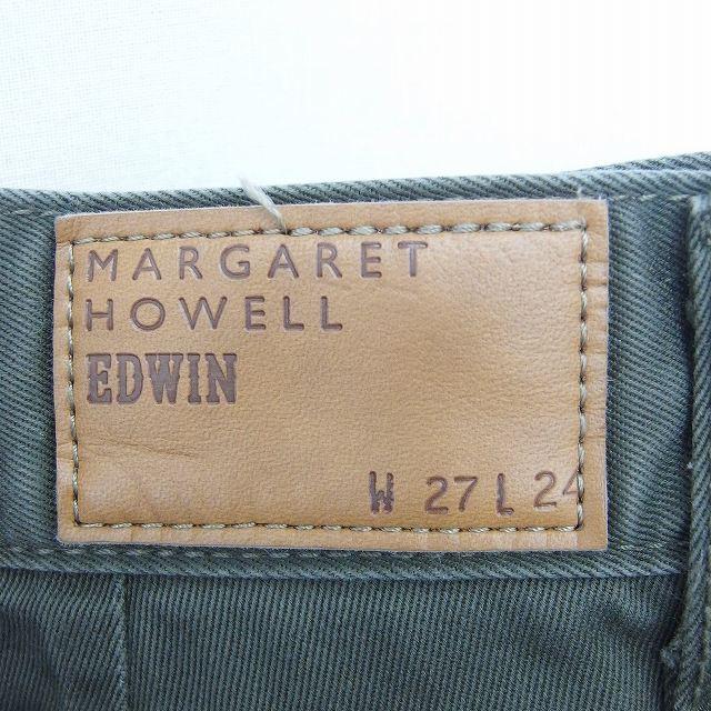 マーガレットハウエル MARGARET HOWELL EDWIN コラボ パンツ テーパード ジップフライ 無地 シンプル 綿 コットン 27 緑 カーキ /TT21 レディース