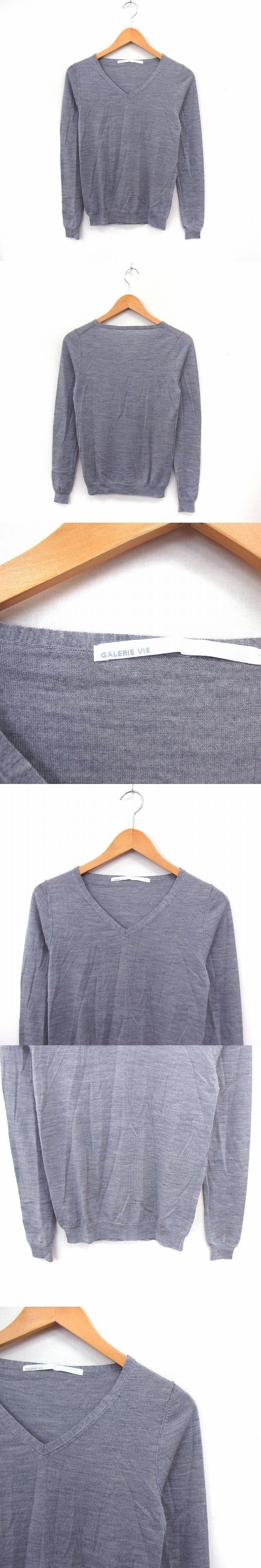 ニット セーター Vネック 長袖 シンプル リブ袖 1 グレー /ST16