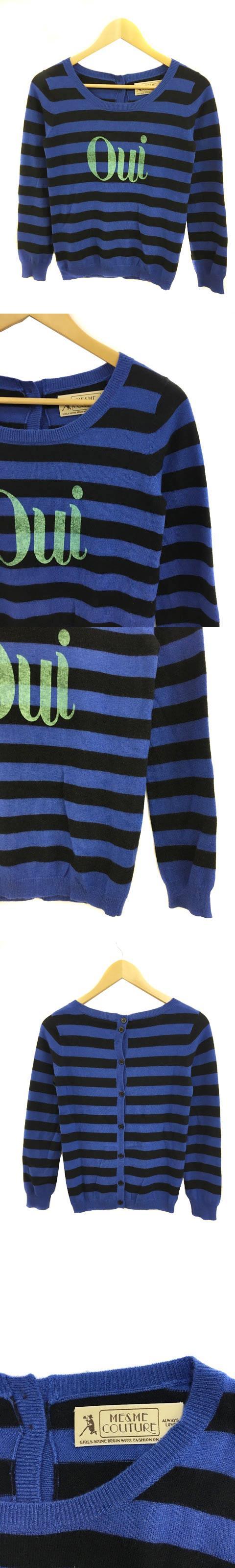 ミーアンドミークチュール ME&ME COUTURE セーター ニット クルーネック ボーダー 英字プリント 長袖 F ウール 黒 青 ブラック ブルー