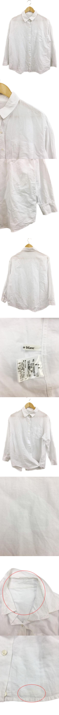 シャツ スタンダード 無地 リネン混 長袖 38 白 ホワイト
