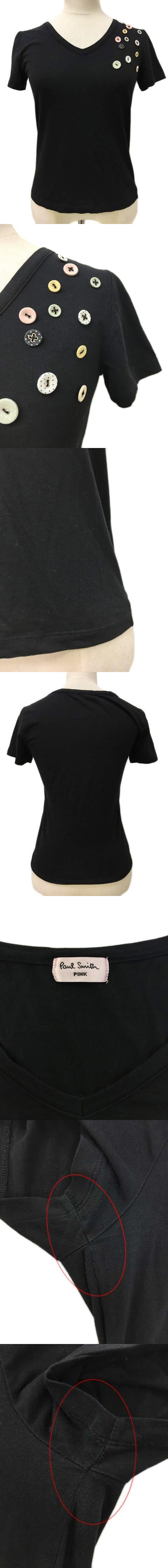Tシャツ プルオーバー Vネック ボタン 半袖 M 黒 ブラック