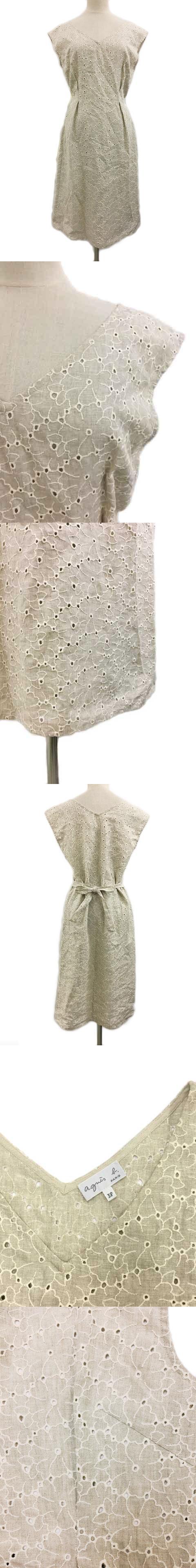 ワンピース 刺繍 ロング 花柄 リネン ノースリーブ 38 ベージュ