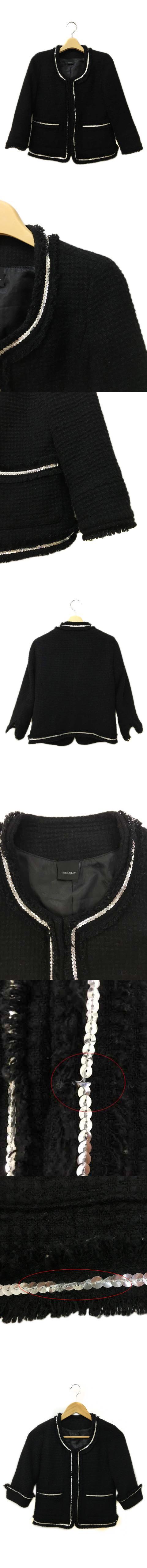ジャケット ノーカラー スパンコール フリンジ ウール 七分袖 F 黒 ブラック