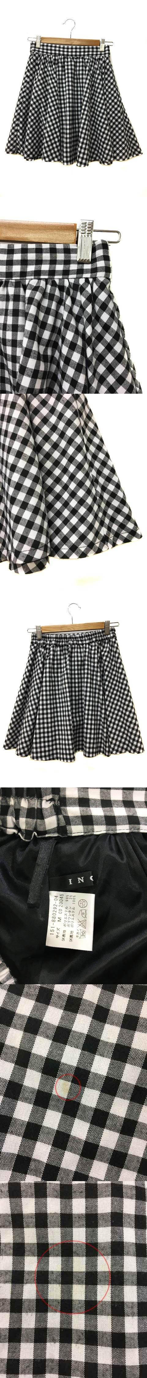 スカート フレア ギャザー ミニ ギンガムチェック ウエストゴム M 黒 白 ブラック ホワイト