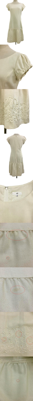 ワンピース フレア ミモレ丈 ラメ 刺繍 半袖 40 白 ベージュ ホワイト