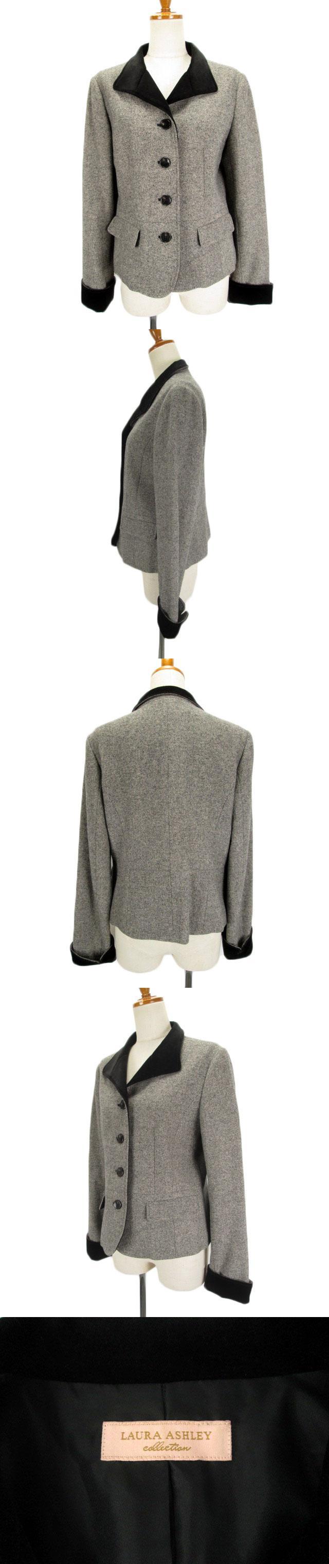 ジャケット ツイード アンゴラ カシミヤ 13 黒 白