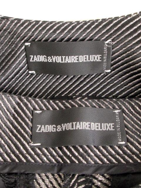 ザディグ エ ヴォルテール ZADIG & VOLTAIRE スーツ ノーカラージャケット ハーフパンツ ボーダー ラメ 34 黒 シルバー レディース
