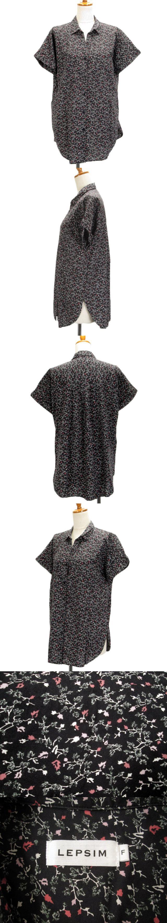 ブラウス シャツ 花柄 オープンカラー 半袖 F 黒