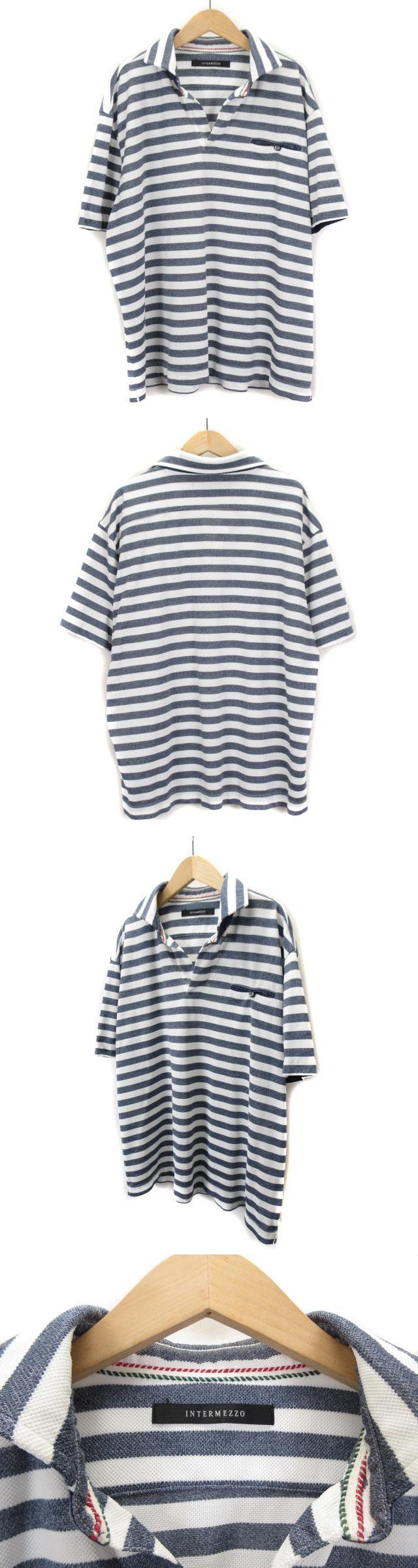 ポロシャツ オープンカラー ボーダー 半袖 リネン混 3L 白 ホワイト グレー
