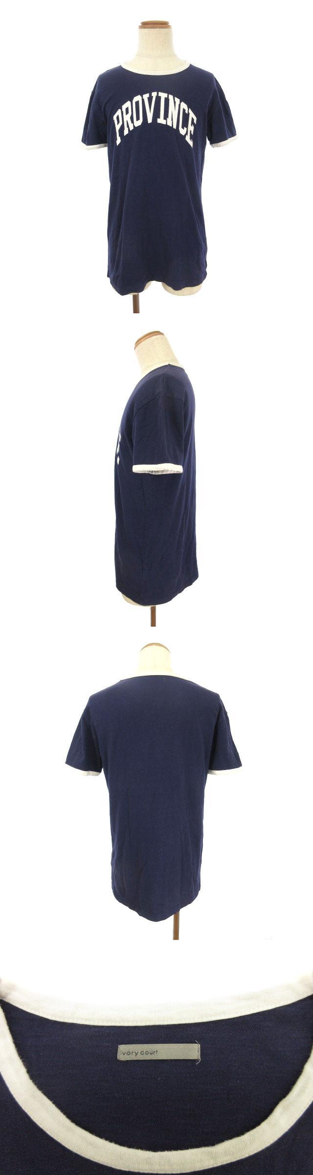 Tシャツ 半袖 プリント 英字 コットン 42 紺 ネイビー /tt