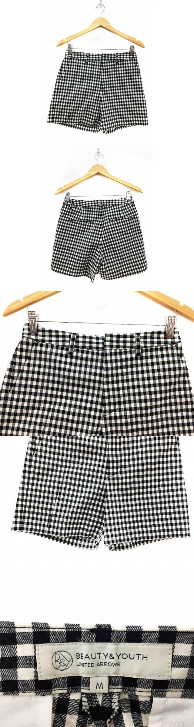 パンツ ショート キュロット ギンガムチェック M 白 ホワイト 黒 ブラック /FH74