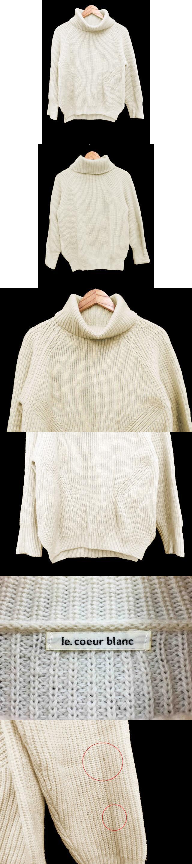 セーター ニット タートルネック ラグラン 長袖 ウール 38 オフホワイト /AS36